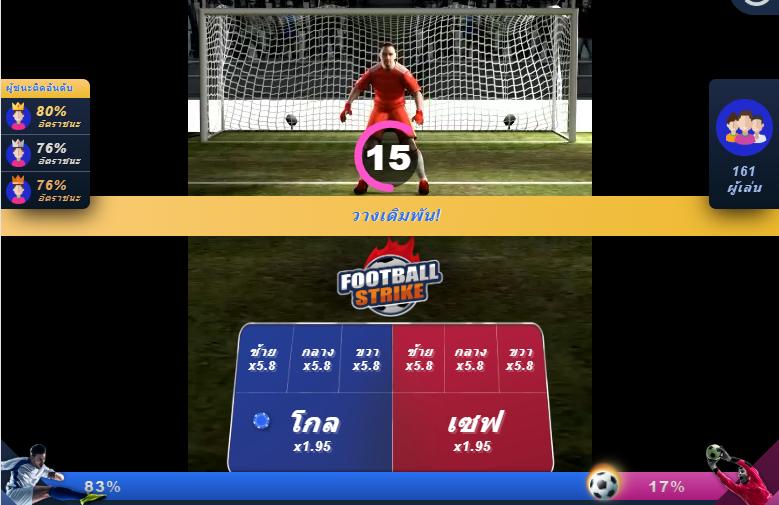 รูปแบบของการลงเดิมพันของเกม Football Strike